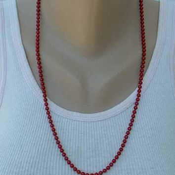 Red Metal Bead Necklace Signed 24-inches Vintage Jewelry