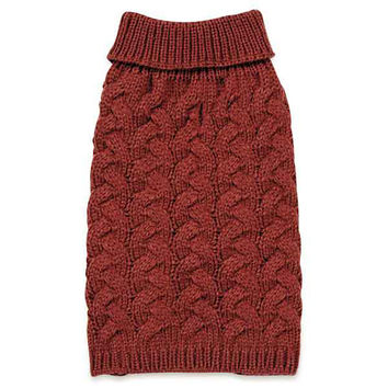 Zack and Zoey Elements Chunky Cable-Knit Dog Sweater - Red | BaxterBoo