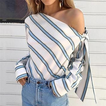 424bbc2c7c4 Summer Women New Striped Loose Blouse Fashion Lady Off Shoulder