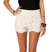 Oatmeal Crochet Lace Shorts