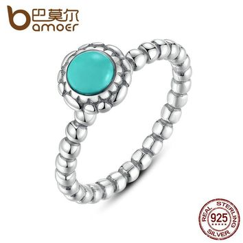 BAMOER Birthday Blooms Ring December  Stone Stackable Bubble Ring 100% 925 Sterling Silver Jewelry PA7162