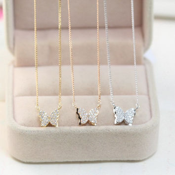 Jewelry Shiny Gift Stylish New Arrival Accessory Simple Design Butterfly Earrings Necklace [6049823553]