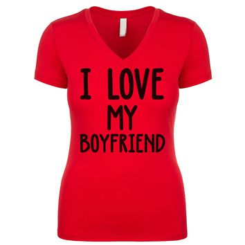 I Love My Boyfriend Women's V Neck