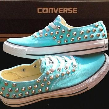 TIFFANY BLUE CONVERSE Studded Shoes Sale Custom Shoes All Star Chuck Mint Aqua Sky Blu