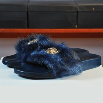 Trendsetter Versace Woman Fashion Fur Sandal Slipper Shoes