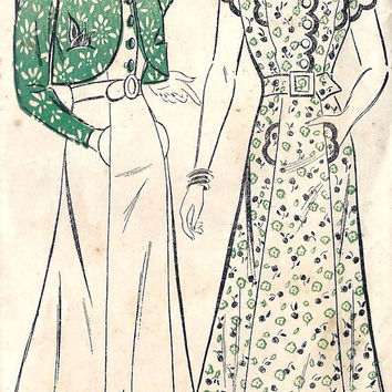 1930s Misses Dress Vintage Sewing Pattern New by MissBettysAttic