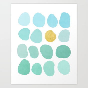 Aqua Pebbles & gold Art Print by vivigonzalezart