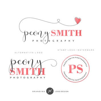 Photography Logo Kit Branding Custom Logo design Premade package Stamp watermark Branding kit Photography kit Blog logo Heart Makeup Wedding
