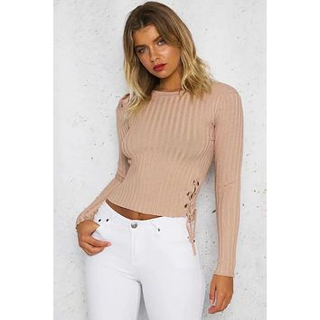 CROPPED LACE-UP ONE SHOULDER, ONE SIDE SWEATER