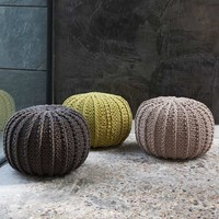 Ursula Cable Knit Pouffes