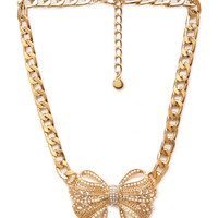 Opulent Bow Pendant Necklace