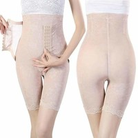 Beige High Waist Thigh Control Tummy Cincher Girdle Briefs