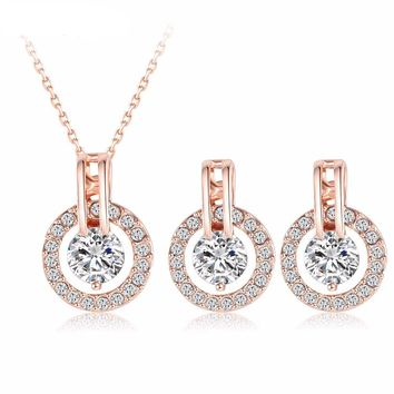 Rose Gold Necklace/Earring Sets