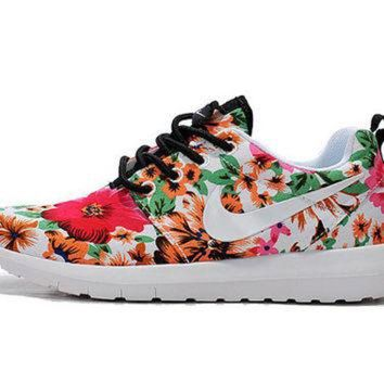 Custom Nike Roshe Run Flyknit Sneakers Athletic Womens Shoes With Fabric Floral And Sw - Beauty Ticks