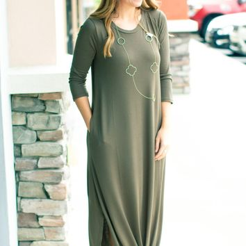 Breaking Dawn Maxi Dress - Olive
