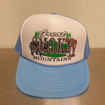 Vintage 1980's Great Smoky Mountains Trucker Snapback Hat Cap Light Blue Mesh Nssin Hat Dad Hat