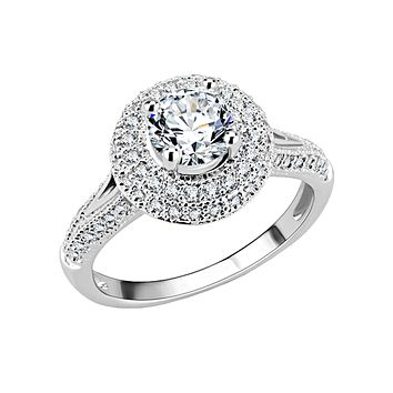 Celine - Women's Rhodium Plated Brass Halo Clear CZ Ring