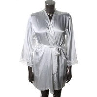 Jones New York Womens Satin Lace Trim Kimono Robe