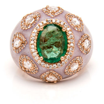 Emerald and Diamond Pave Dome Ring