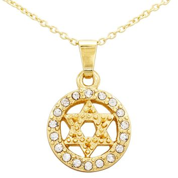 18k Yellow Gold Plated Clear Crystal Jewish Star of David Pendant Necklace 16""