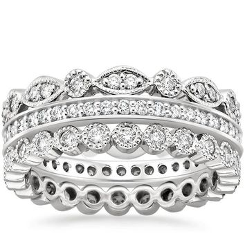 Platinum Luxe Antique Eternity Diamond Ring Stack (1 ct. tw.)