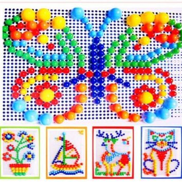 Creative Children Puzzle Peg Board With 296 Pegs Mushroom Nails Mosaic Jigsaw Peg board Building Toy Kits Intelligence Toy