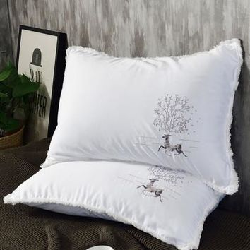 Fringe Trim Embroidered Pillow 1pc