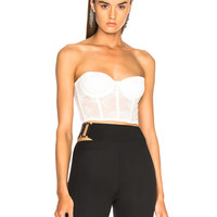 fleur du mal Strapless Bustier Top in Snow | FWRD