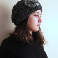 Warm Hat dark Gray Cable adorned with gray frilly rose