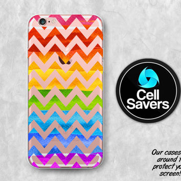 Rainbow Chevron Clear iPhone 6s Case iPhone 6 Case iPhone 6 Plus Case iPhone 6s Plus iPhone 5c Case iPhone 5 Clear Case Ombre Watercolor