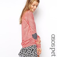 ASOS PETITE Sweater with Heart Elbow Patch - Pastel pink