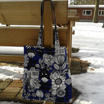 Tote bag made from Marimekko fabric, canvas shopping bag, Laptop School or Book tote bag, reusable grocery bag, Travel or Market tote, blue