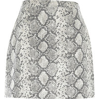 River Island Womens White snake print leather-look A-line skirt