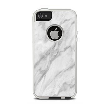 The White Marble Surface Apple iPhone 5-5s Otterbox Commuter Case Skin Set