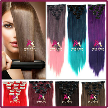 """24""""(60cm) 130g Women Long Straight Synthetic Clip in Hair Extensions pieces 7pcs/set 22 Colors"""