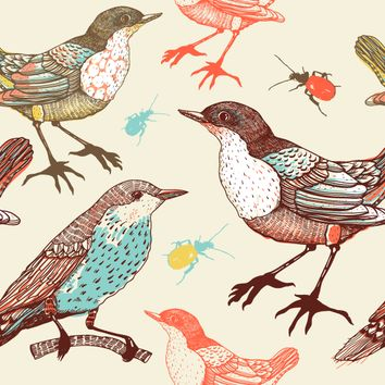 Removable Wallpaper - Birds and Beetles