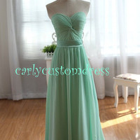 Cheap Long Mint Chiffon Bridesmaid Dress Coral Blue Peach Red Grey Black Prom/Homecoming/Party/Cocktail Dress Wedding Party Dress 2014