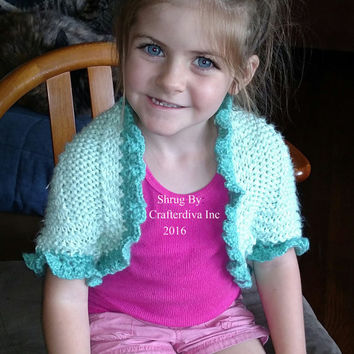 Childs Shrug, Size 4-6 year old Shrug, Hand knitted and Crochet Shrug, Girls Accessories, Girls Clothing, Sweater, Ready to Ship