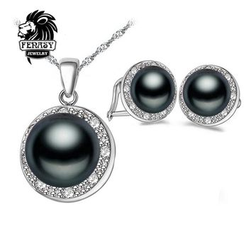 FENASY Natural Black White Pearl Earrings Pendants, 2017 New Fashion Jewelry Natural Pearl Sets, Party Jewelry Sets,jewelry box