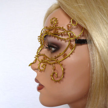 Yellow vine masquerade mask, handmade, summer wedding accessories, bridal accessories