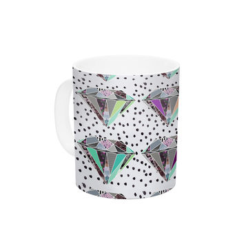 "Vasare Nar ""Polka Dot Diamonds"" White Rainbow Ceramic Coffee Mug"