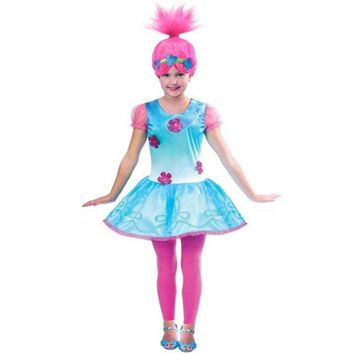 Summer Short-sleeved Trolls Birthday Party Cosplay Costume 2 Layers Floral Princess Dress for Kids Trolls Girl Children Dresses