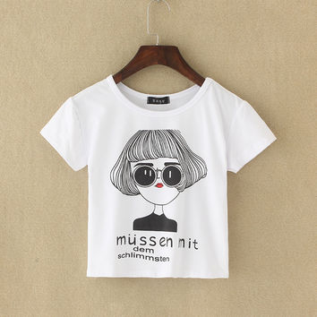 2017 Graphic Tee New Summer Harajuku Cute Women T-Shirt Letter Print Cotton Crop Top T Shirt Short Sleeve Girl Tshirt