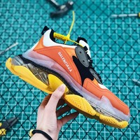 Balenciaga Triple S Clear Sole Trainers Orange Yellow Sneakers - Best Online Sale