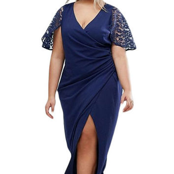Plus Wrap Front Maxi Dress With Lace Sleeves MAVERLLY