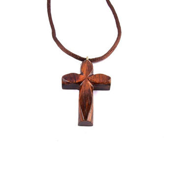 Wooden Cross Necklace, Cross Necklace, Christian Jewelry, Wooden Cross Pendant, Handmade Wooden Pendant, Wood Jewelry, Hand Carved Cross