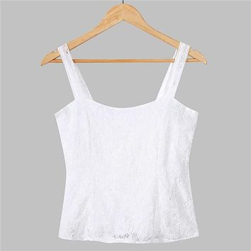 Sexy Women Summer Vest Lace Floral White Low-Cut Top Sleeveless Tank Top
