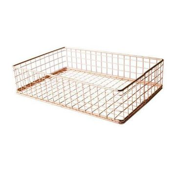 Rose Gold Office Storage Tray