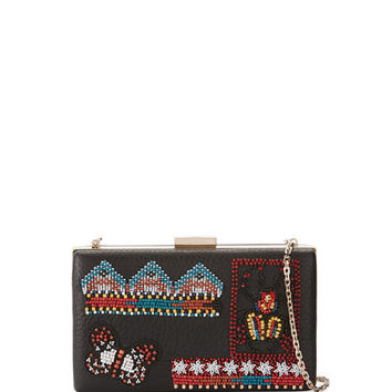 Valentino Ricamo Beaded Leather Clutch Bag, Black