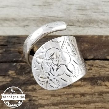 "Antique Floral Etched ""Amelia"" Sterling Silver Wrapped Spoon Ring"